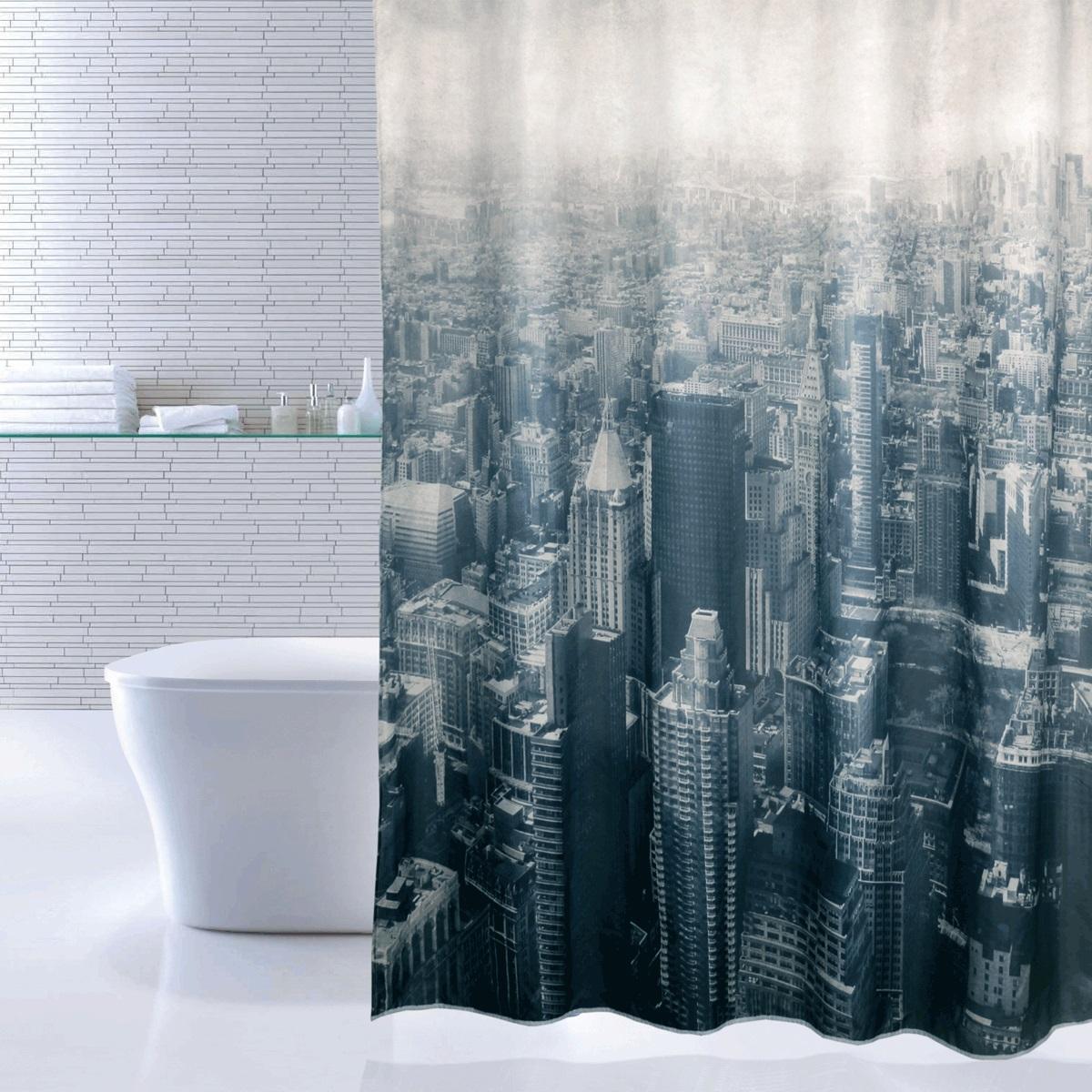 Штора для ванной Iddis Megapolis, цвет: белый, черный, 180 x 200 см610P18Ri11Материал: текстиль, 100% полиэстер, водоотталкивающая пропитка, 12 встроенных колец для крепления к карнизу, плотность 100 г/м, утяжеляющая нить, упаковка ПВХ пакет.
