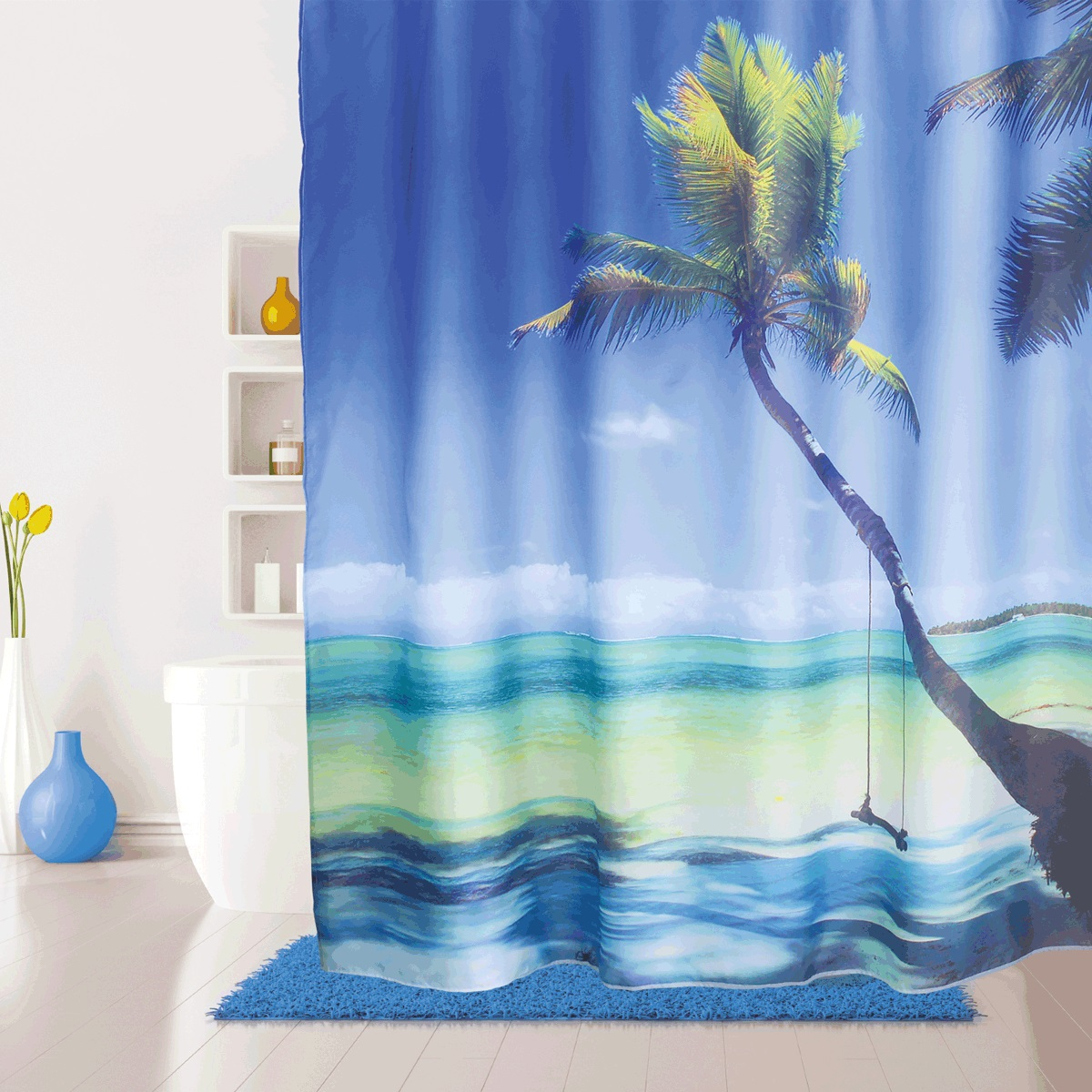Штора для ванной Iddis Maldivian, цвет: голубой, 180 x 200 см штора для ванной iddis curved lines blue цвет голубой 200 x 200 см