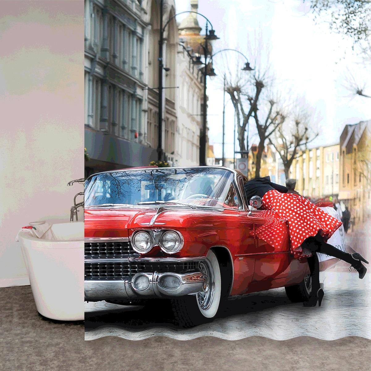 Штора для ванной Iddis Vintage Moments, цвет: серый, красный, 180 x 200 см670P18Ri11Mатериал: текстиль, 100% полиэстер, плотность 110 г/м, водоотталкивающая пропитка, 12 металлических люверсов, 12 колец в комплекте, упаковка ПВХ пакет