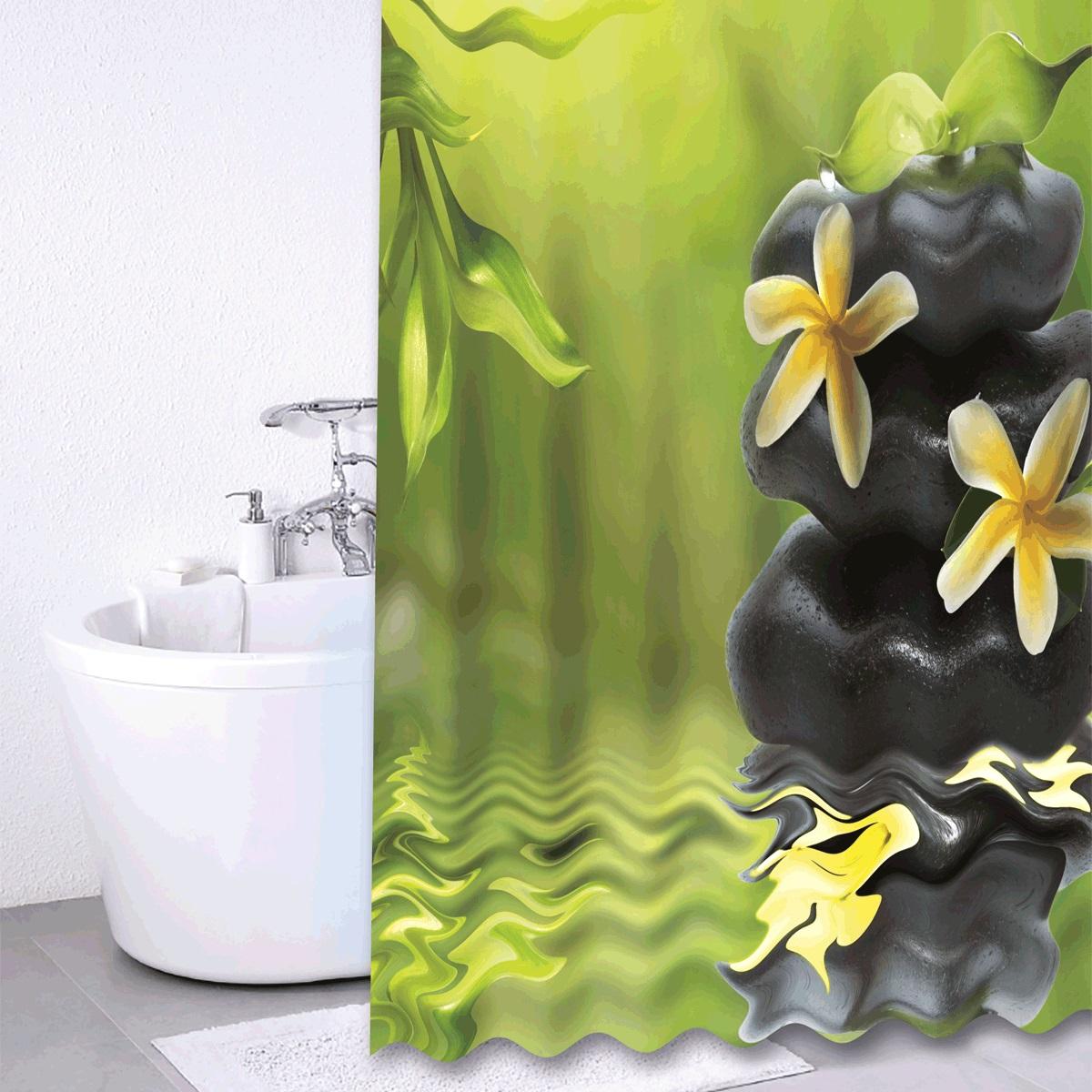 Штора для ванной Iddis Spa Therapy, цвет: зеленый, черный, 180 x 200 см680P18Ri11Штора для ванной комнаты Iddis выполнена из быстросохнущего материала - 100% полиэстера, что обеспечивает прочность изделия и легкость ухода за ним.Материал шторы пропитан специальным водоотталкивающим составом Waterprof.Изделие изготовлено из экологически-чистого материала, оно обладает высокой степенью гигиеничности, не вызывает аллергических реакций.Штора имеет 12 металлических люверсов. В комплекте: штора и кольца.