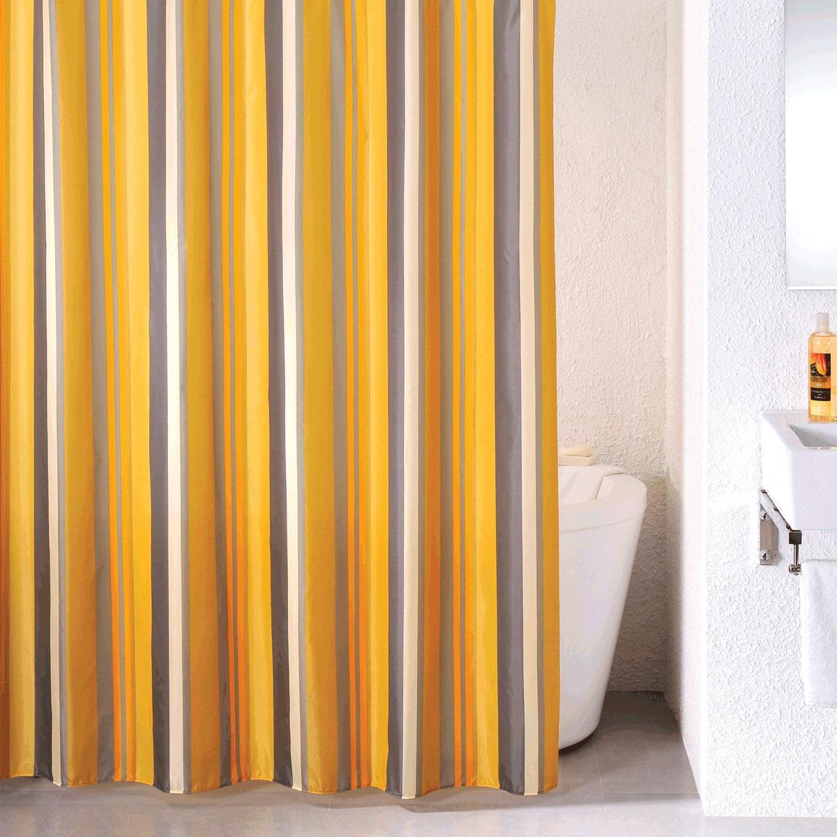 Штора для ванной Milardo Quiet Stripes, цвет: оранжевый, 180 x 200 см710P180M11материал: текстиль, 100% полиэстер, водоотталкивающая пропитка, упаковка ПВХ пакет, плотность 90 г/м, 12 металлических люверсов, 12 колец в комплекте