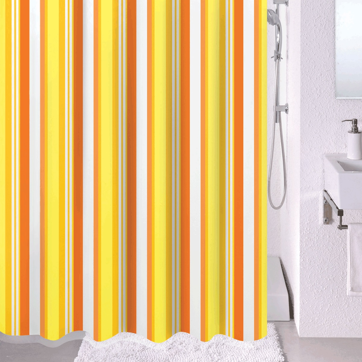 Штора для ванной Milardo Flag Stripe, цвет: белый, желтый, оранжевый, 180 x 200 см730P180M11Штора для ванной Milardo Milardo Flag Stripe, изготовленная из полиэстера - водонепроницаемого, мягкого на ощупь и прочного материала, идеально защищает ванную комнату от брызг. В верхней кромке шторы предусмотрены металлические отверстия для колец, которые входят в комплект.Штора Milardo Flag Stripe порадует вас своим ярким дизайном и добавит уюта в ванную комнату. Плотность: 90 г/м.Количество колец: 12 шт.