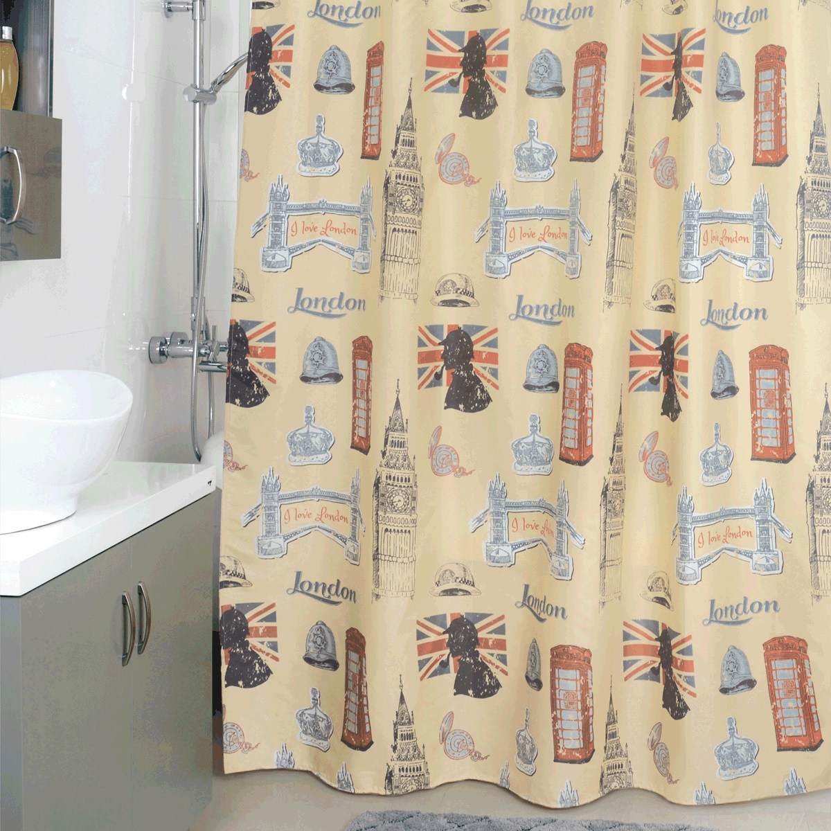 Штора для ванной Milardo British Sings, цвет: бежевый, 180 x 200 см870P180M11Штора для ванной Milardo Milardo British Sings, изготовленная из полиэстера - водонепроницаемого, мягкого на ощупь и прочного материала, идеально защищает ванную комнату от брызг. В верхней кромке шторы предусмотрены металлические отверстия для колец, которые входят в комплект.Штора Milardo Milardo British Sings порадует вас своим ярким дизайном и добавит уюта в ванную комнату. Плотность: 80 г/м.Количество колец: 12 шт.