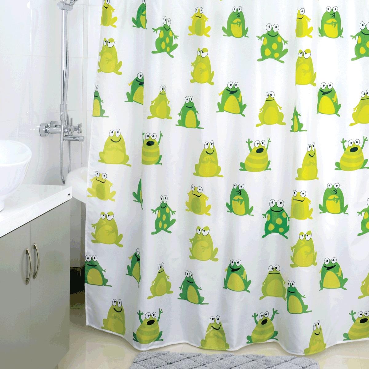 Штора для ванной Milardo Frogs Pool, цвет: мультиколор, 180 x 200 см890P180M11Материал: текстиль, 100% полиэстер, водоотталкивающая пропитка, упаковка ПВХ пакет, плотность 80 г/м, 12 пластиковых люверсов, 12 колец в комплекте, утяжеляющая нить.