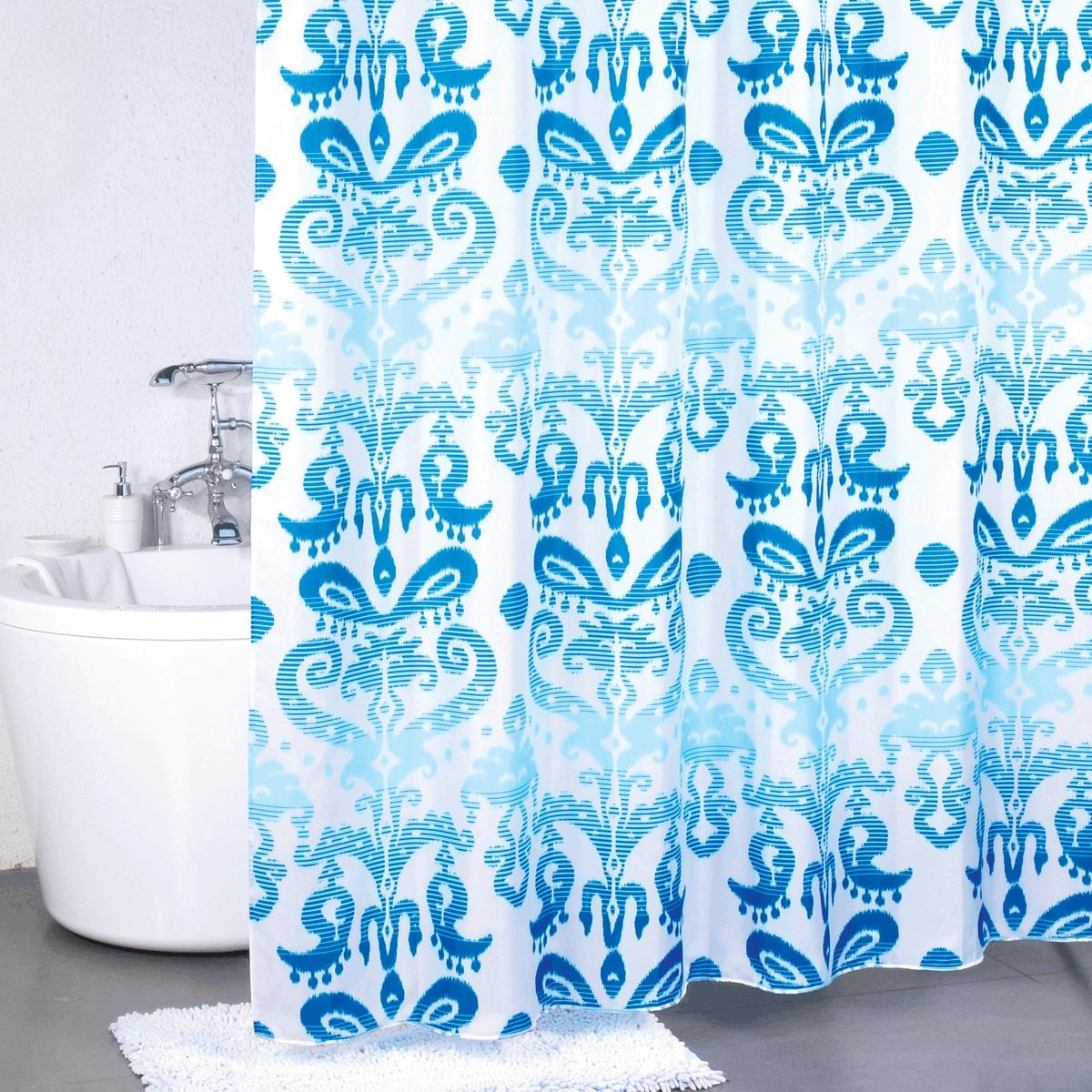 Штора для ванной Milardo Turkish Blue, цвет: голубой, 180 x 200 см920P180M11Штора для ванной Milardo Beige Silhouette, изготовленная из полиэстера - водонепроницаемого, мягкого на ощупь и прочного материала, идеально защищает ванную комнату от брызг. В верхней кромке шторы предусмотрены металлические отверстия для колец, которые входят в комплект.Штора Milardo Beige Silhouette порадует вас своим ярким дизайном и добавит уюта в ванную комнату. Плотность: 90 г/м.Количество колец: 12 шт.
