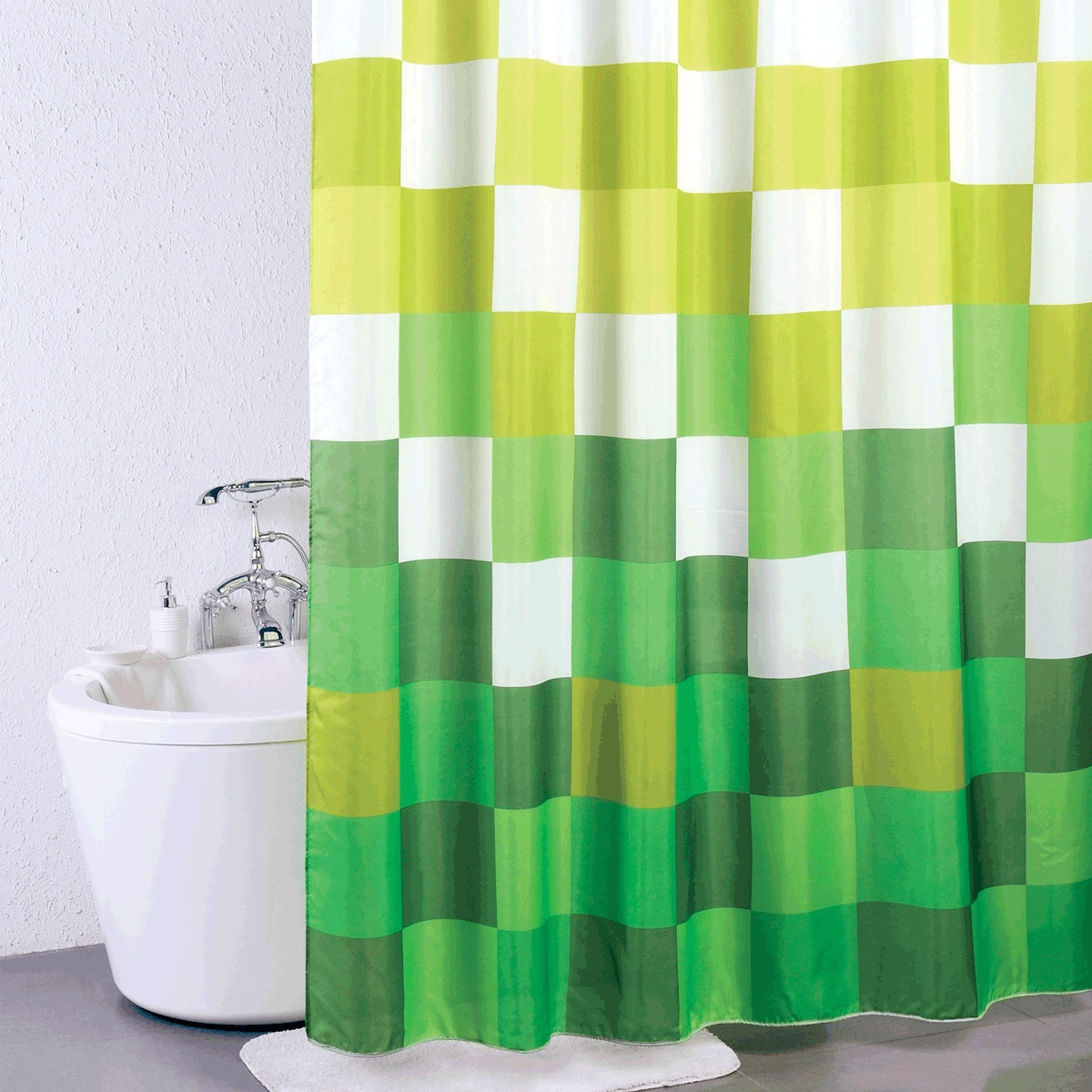 Штора для ванной Milardo Brick Game, цвет: зеленый, 180 x 200 см930P180M11Штора для ванной Milardo Brick Game, изготовленная из полиэстера - водонепроницаемого, мягкого на ощупь и прочного материала, идеально защищает ванную комнату от брызг. В верхней кромке шторы предусмотрены металлические отверстия для колец, которые входят в комплект.Штора Milardo Brick Game порадует вас своим ярким дизайном и добавит уюта в ванную комнату. Плотность: 90 г/м.Количество колец: 12 шт.