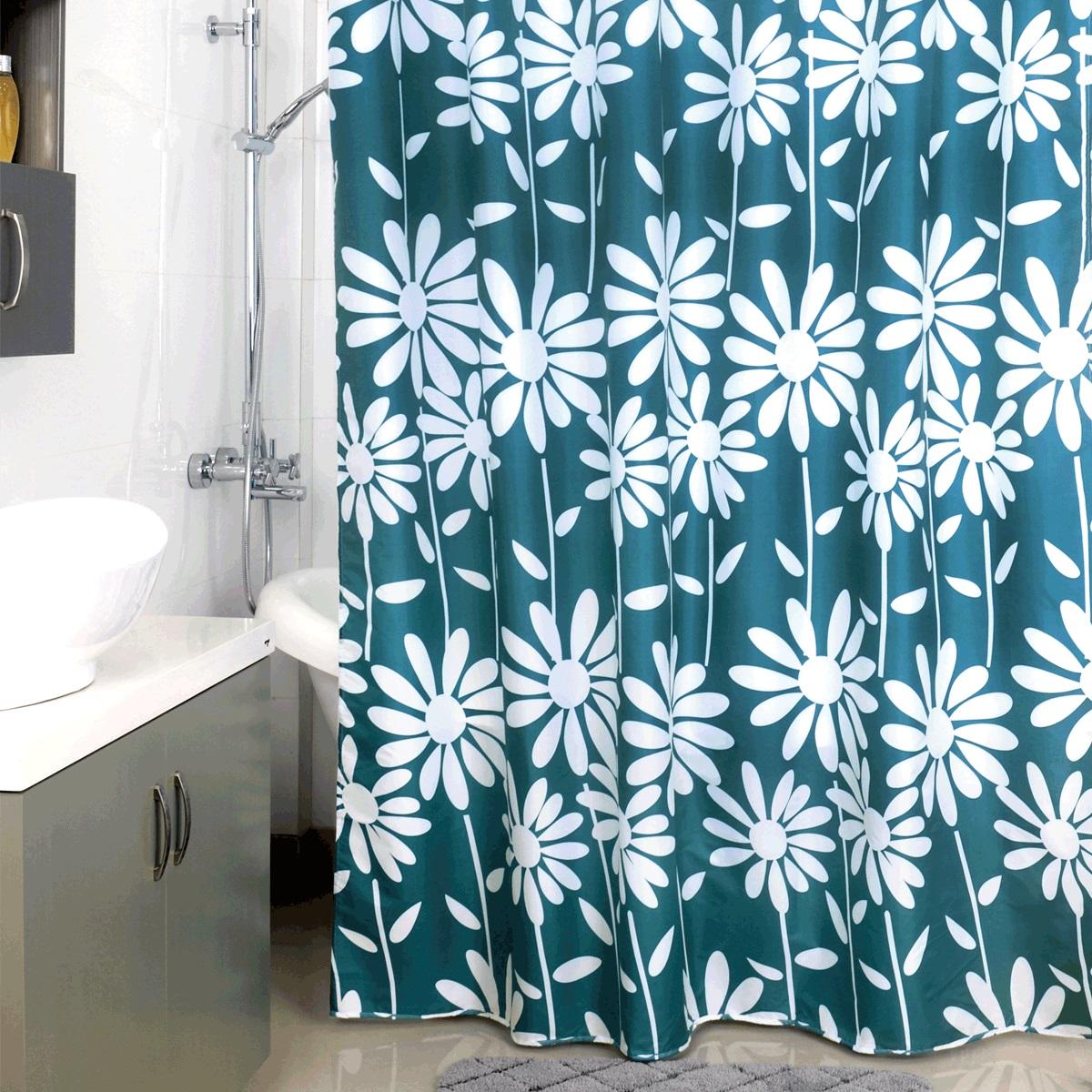 Штора для ванной Milardo Flowers Blue, цвет: синий, 180 x 200 см950P180M11Штора для ванной Milardo Flowers Blue, изготовленная из полиэстера - водонепроницаемого, мягкого на ощупь и прочного материала, идеально защищает ванную комнату от брызг. В верхней кромке шторы предусмотрены металлические отверстия для колец, которые входят в комплект.Штора Milardo Flowers Blue порадует вас своим ярким дизайном и добавит уюта в ванную комнату. Плотность: 90 г/м.Количество колец: 12 шт.