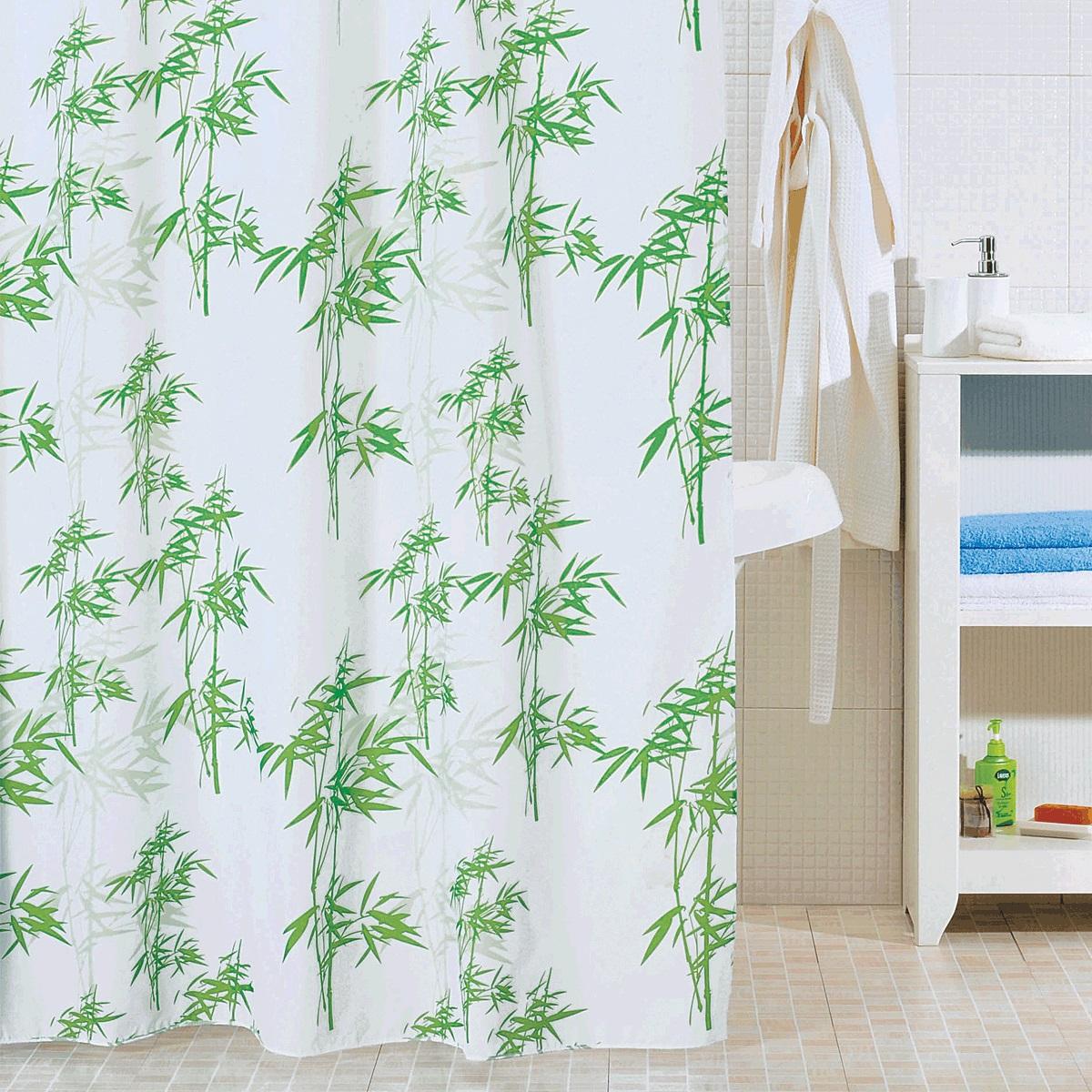 Штора для ванной Iddis Bamboo Leaf, цвет: белый, зеленый, 200 x 200 смSCID010PШтора для ванной комнаты Iddis выполнена из быстросохнущего материала - 100% полиэстера, что обеспечивает прочность изделия и легкость ухода за ним.Материал шторы пропитан специальным водоотталкивающим составом Waterprof.Изделие изготовлено из экологически-чистого материала, оно обладает высокой степенью гигиеничности, не вызывает аллергических реакций.Штора имеет 12 металлических люверсов и утяжеляющую нить. В комплекте: штора и кольца.