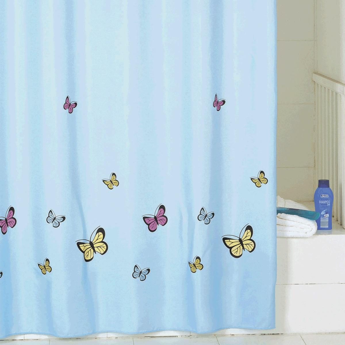 Штора для ванной Iddis Blue Butterfly, цвет: голубой, 200 x 200 см штора для ванной iddis curved lines blue цвет голубой 200 x 200 см