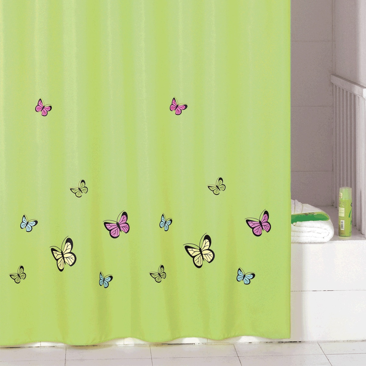Штора для ванной Iddis Green Butterfly, цвет: зеленый, 200 x 200 см шторы для ванной iddis штора для ванной