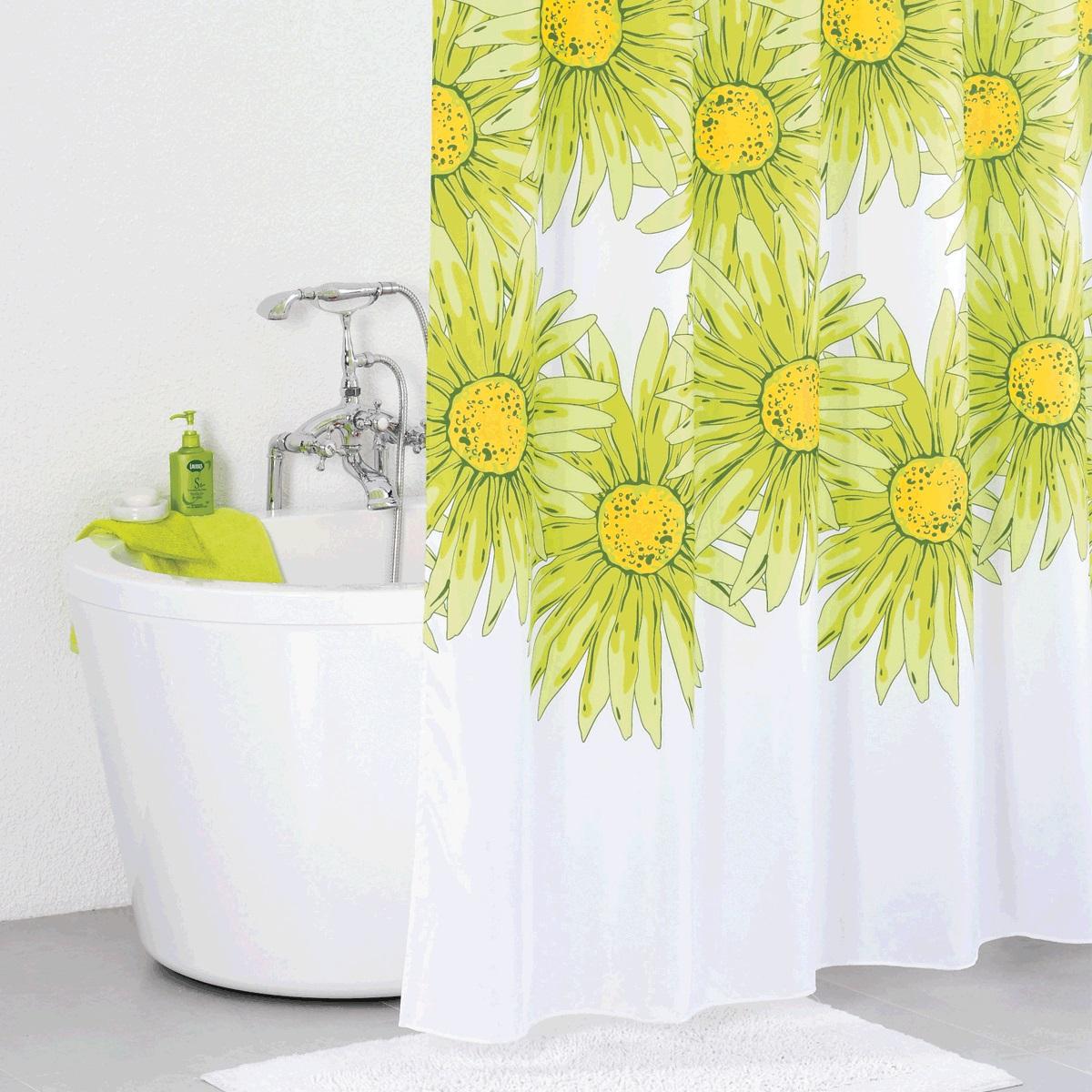 Штора для ванной Iddis Green Blossom, цвет: белый, зеленый, 200 x 200 см