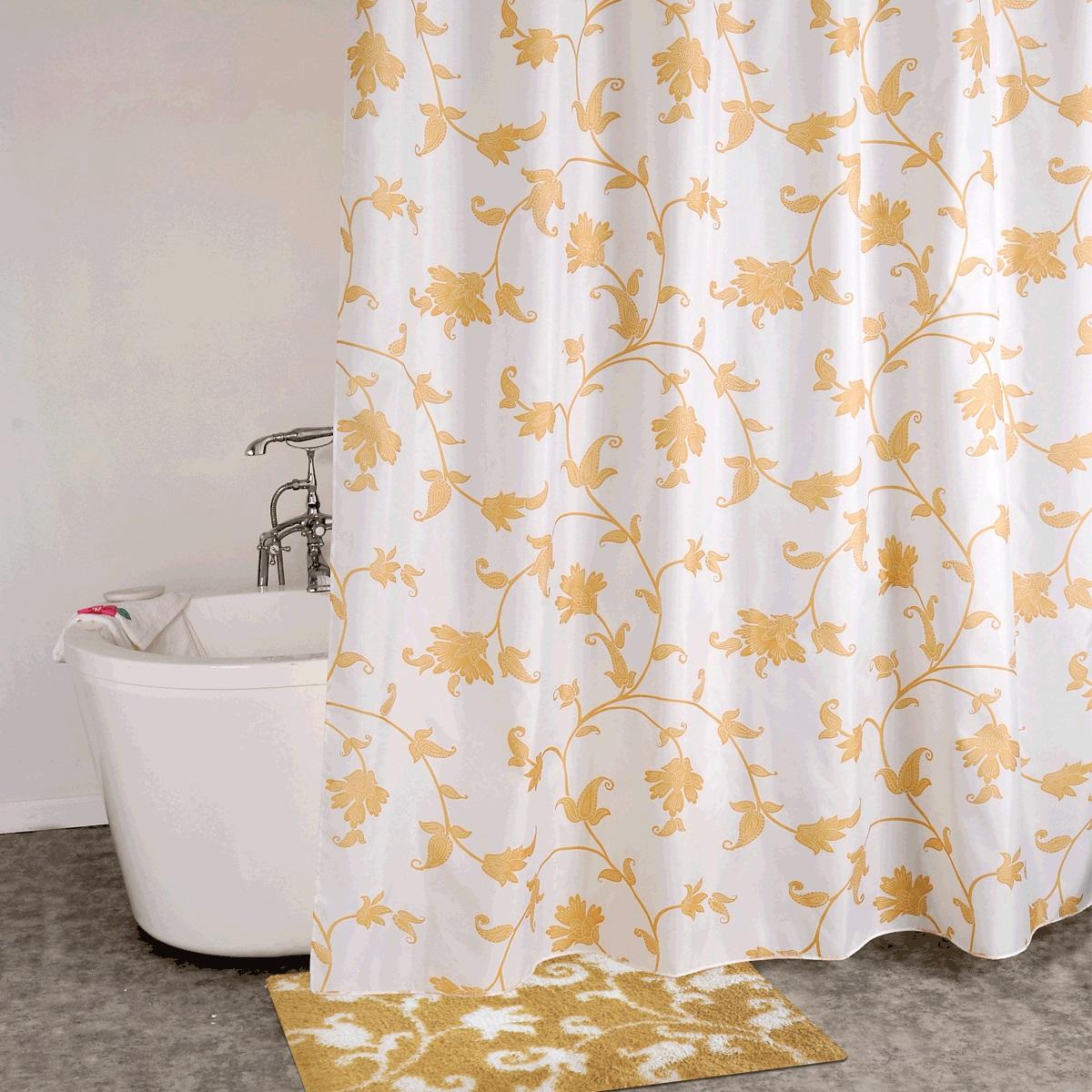 Штора для ванной Iddis Elegant Gold, цвет: белый, желтый, 200 x 200 смSCID131PШтора для ванной комнаты Iddis выполнена из быстросохнущего материала - 100% полиэстера, что обеспечивает прочность изделия и легкость ухода за ним.Материал шторы пропитан специальным водоотталкивающим составом Waterprof.Изделие изготовлено из экологически-чистого материала, оно обладает высокой степенью гигиеничности, не вызывает аллергических реакций.Штора имеет 12 металлических люверсов. В комплекте: штора и кольца.