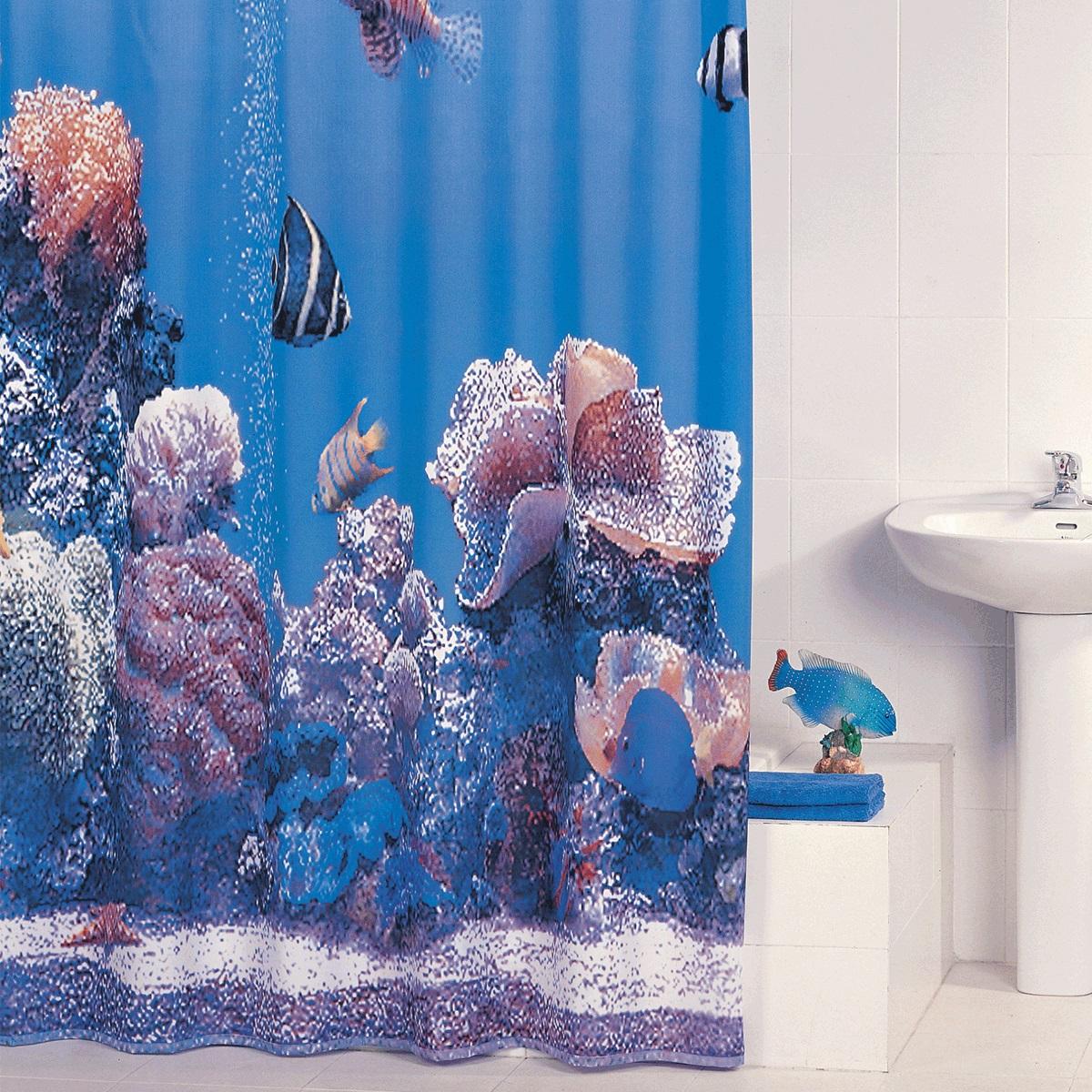 Штора для ванной Iddis Pacific Ocean, цвет: голубой, 180 x 200 смSCID190Pматериал: текстиль, 100% полиэстер, водоотталкивающая пропитка, кольца в комплекте, упаковка ПВХ пакет, плотность 110 г/м, 12 металл. люверсов,