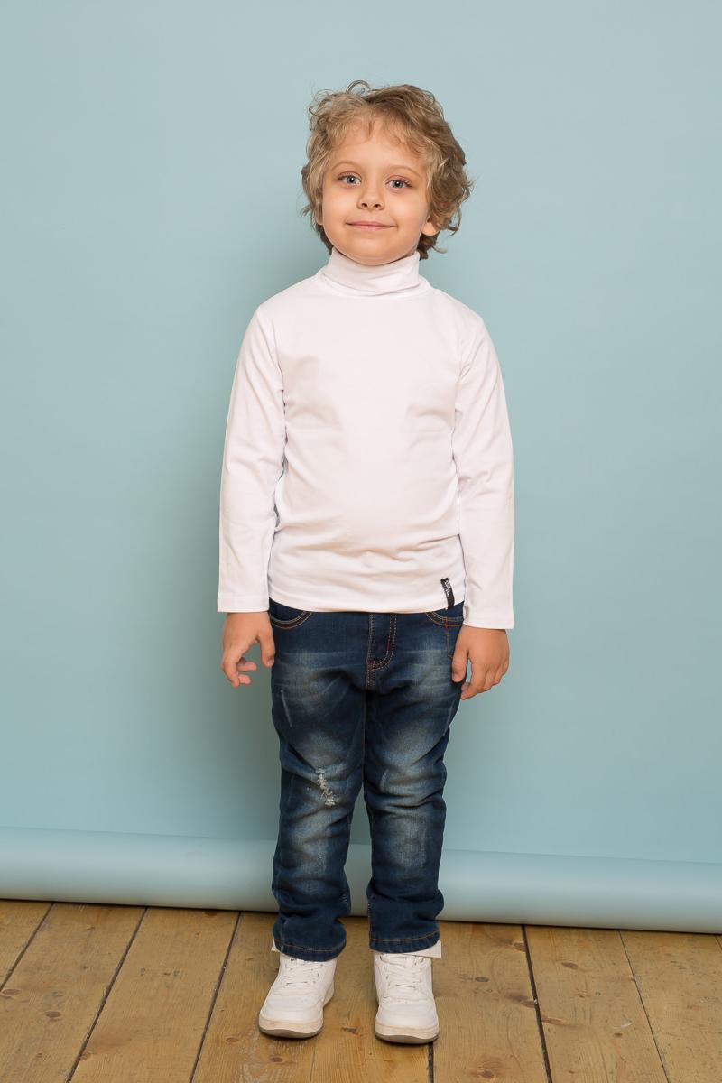 Водолазка для мальчика Sweet Berry, цвет: белый. 733122. Размер 128733122Классическая белая трикотажная водолазка из мягкого хлопкового полотна для мальчика. Воротник-стойка.