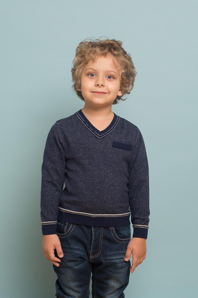 Джемпер для мальчика Sweet Berry, цвет: темно-синий. 733063. Размер 128733063Стильный вязанный джемпер из хлопковой пряжи для мальчика с V-образным вырезом, декорированный контрастной вязкой и пуговками.