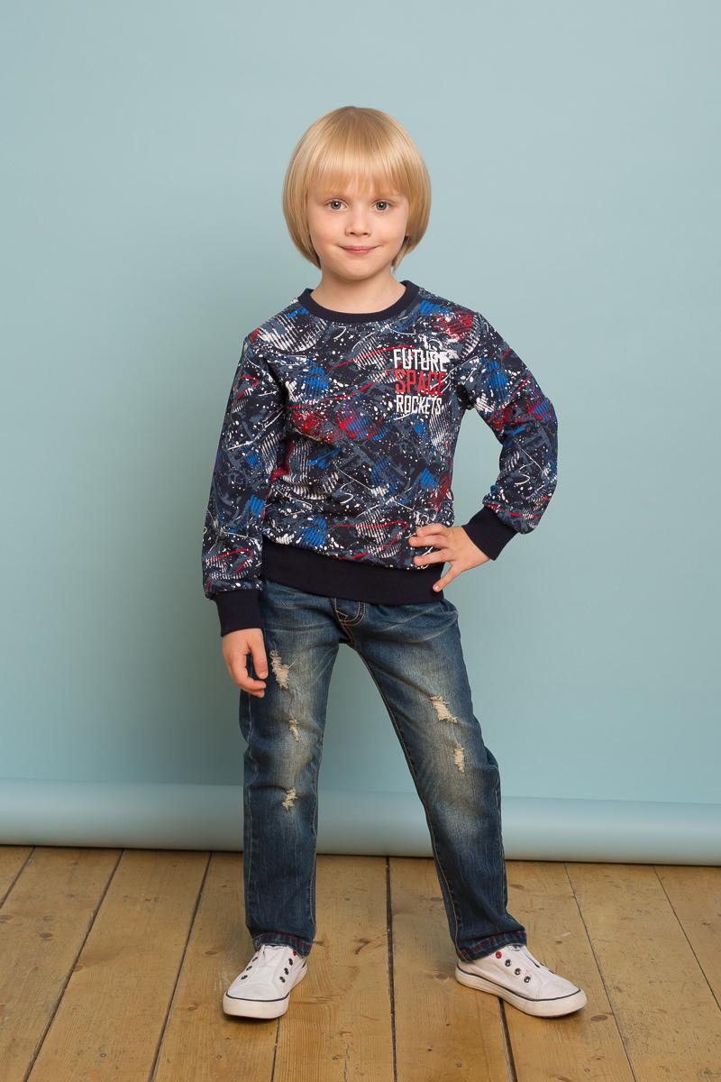 Джинсы для мальчика Sweet Berry, цвет: темно-синий. 733016. Размер 128733016Джинсовые брюки для мальчика с мягким эластичным пояс и шнуром для регулирования объема по талии. Декорированы оригинальными варкой и потёртостями. Низ брючин декорирован контрастной строчкой. Прямой крой, средняя посадка.