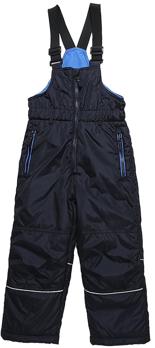 Полукомбинезон для мальчика Sweet Berry, цвет: темно-синий. 733027. Размер 98733027Утепленный полукомбинезон от Sweet Berry для мальчика выполнен из болоньевой ткани на регулируемых лямках со светоотражающими полосами. Два прорезных кармана на молнии. Приталенный крой, флисовая подкладка, снегозащитная юбка.