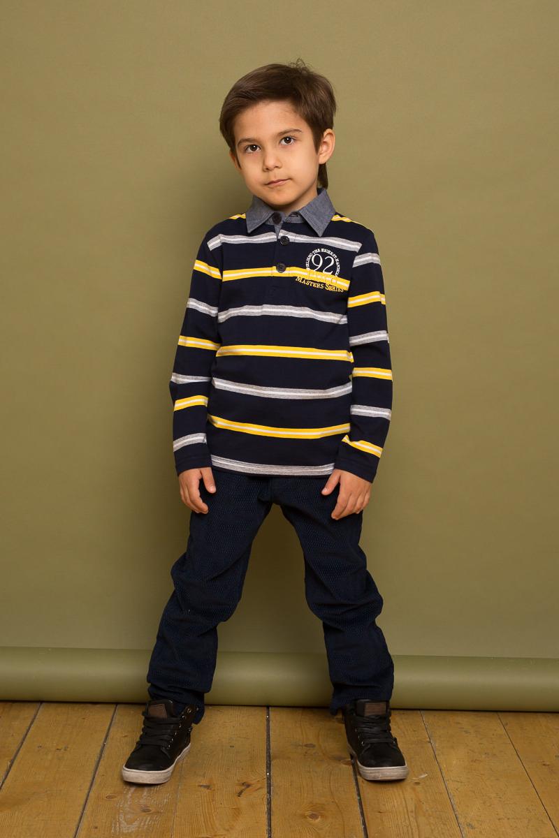 Поло для мальчика Sweet Berry, цвет: темно-синий. 733053. Размер 128733053Классический трикотажный джемпер с воротничком поло для мальчика в полоску декорированный кармашком и принтом.