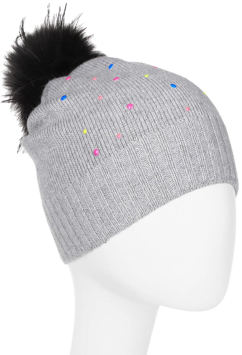 Шапка женская Marhatter, цвет: светло-серый. Размер 56/58. MWH5996MWH5996Стильная шапка с помпоном из натурального меха, выполнена из ангоровой пряжи. Модель очень актуальна для тех, кто ценит комфорт, стиль и красоту.