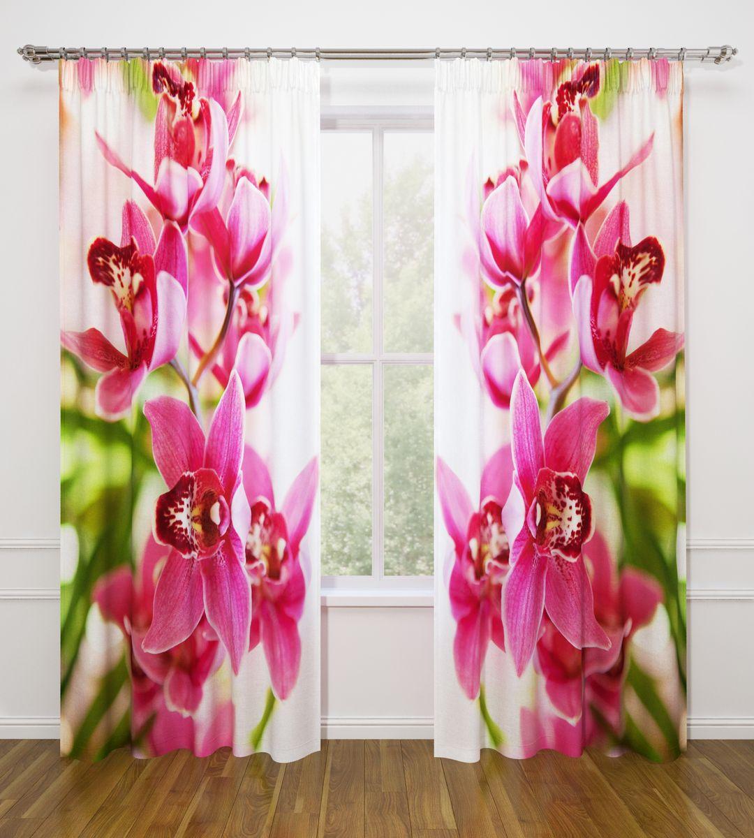 Комплект фотоштор Стильный дом Душистая орхидея, на ленте, высота 260 смСД-07588-ФШ-ГБ-001Фотошторы Стильный дом из ткани Габардин (100% полиэстер) отлично дополнят дизайн любого интерьера. Габардин имеет небольшую плотность, ткань хорошо пропускает воздух и солнечный свет. Ткань хорошо держит форму, не требует специального ухода. Качественное изображение перенесенное на наши шторы будет радовать каждый день. При изготовлении фотоштор используются современные материалы и гипоаллергенные краски.Крепление на карниз при помощи шторной ленты на крючки. Удобство монтажа - регулируемая высота без подшива с помощью клеевой ленты. В комплекте: 2 портьера: 145 х 260 см. Клеевая паутинка: 1шт. Инструкция для регулировки высоты штор.Рекомендации по уходу: стирка при 30 градусах, гладить при температуре до 110 градусов. Изображение на мониторе может немного отличаться от реального.