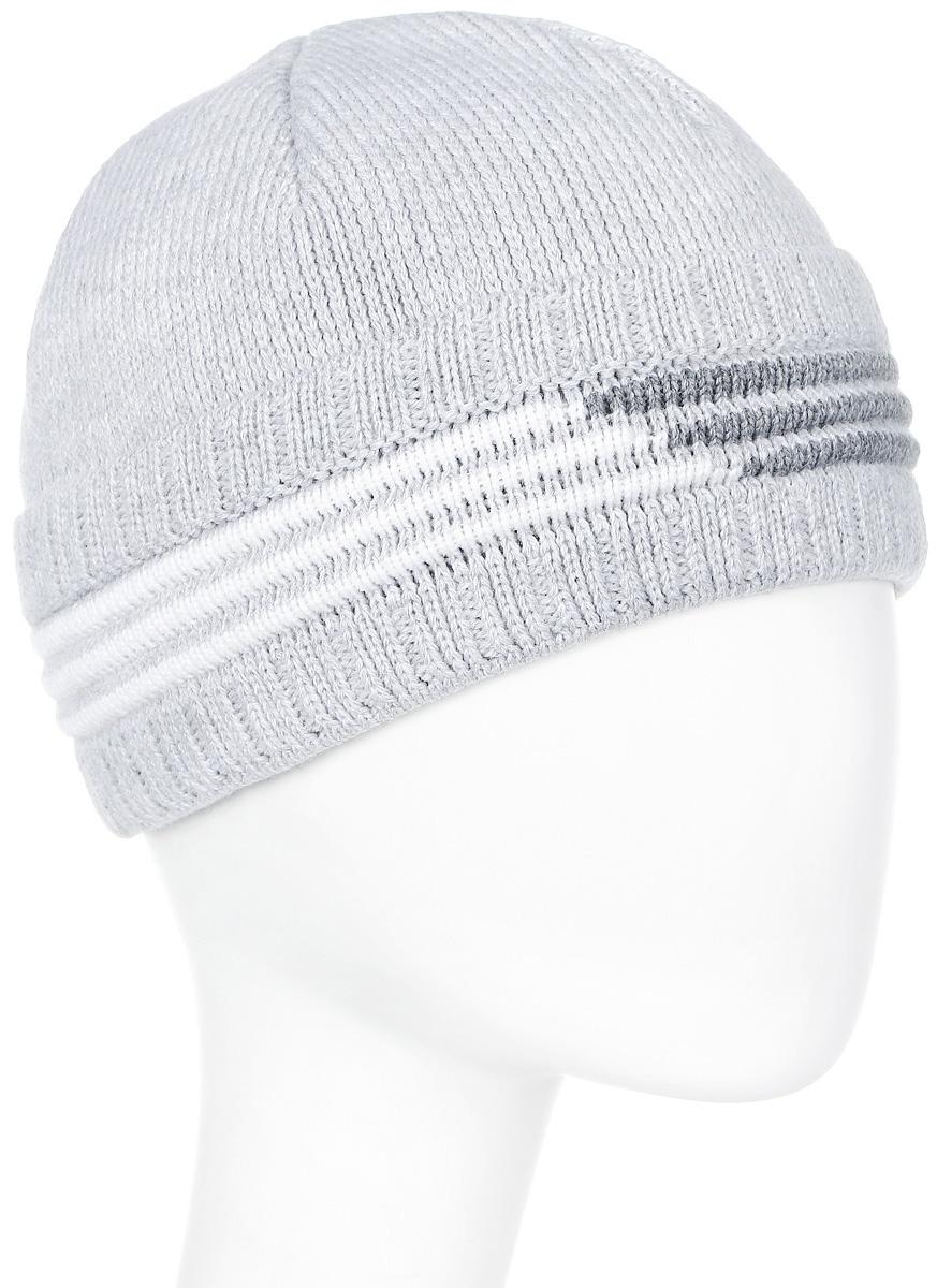 Шапка мужская Marhatter, цвет: светло-серый. Размер 56/58. 38043804Великолепная шапка со стильными полосами. Модель очень теплая: полушерстяная пряжа самого высокого качества и подкладка из флиса.