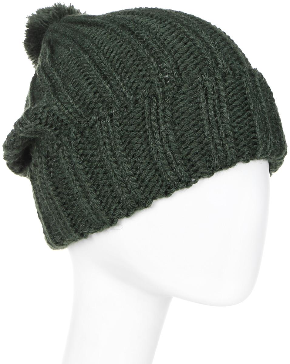 Шапка мужская Elfrio, цвет: темно-зеленый. Размер 57/59. RMH6334RMH6334Отличная шапка с помпоном из пряжи, выполнена из комфортного материала. Данная модель мягкая и комфортная на ощупь, отличный вариант на каждый день.