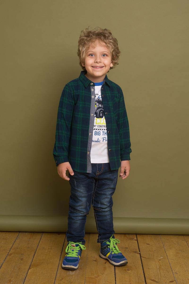 Рубашка для мальчика Sweet Berry, цвет: темно-синий, зеленый. 733105. Размер 98733105Стильная хлопковая рубашка от Sweet Berry выполнена из байковой ткани в клетку. Модель с накладным карманом, длинными рукавами и отложным воротничком застегивается на кнопки.