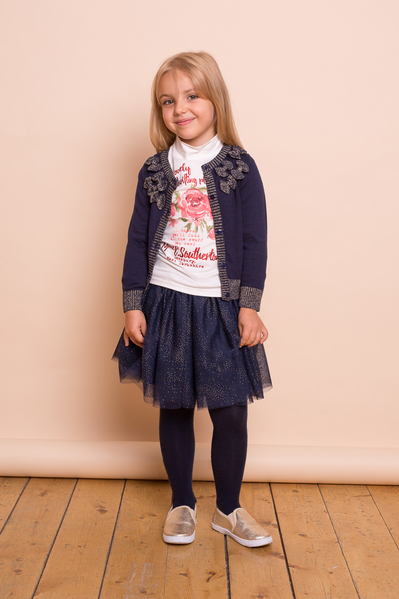 Юбка для девочки Sweet Berry, цвет: темно-синий. 734058. Размер 98734058Текстильная юбка для девочки от Sweet Berry выполнена из фатина и декорирована блестками. Хлопковая подкладка, широкий эластичный пояс.
