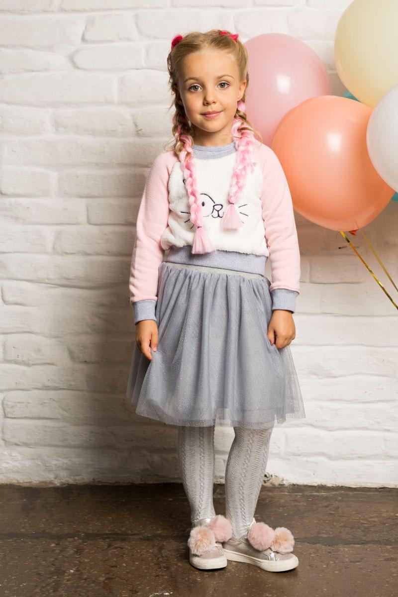 Юбка для девочки Sweet Berry, цвет: серый. 734084. Размер 104734084Текстильная юбка для девочки от Sweet Berry выполнена из фатина и декорирована блестками. Хлопковая подкладка, широкий эластичный пояс.