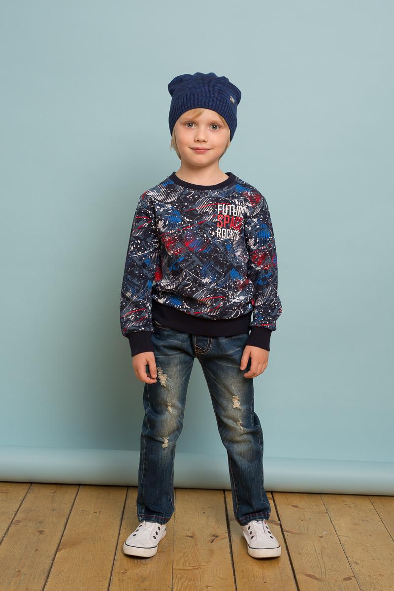 Шапка детская для мальчика Sweet Berry, цвет: синий. 733022. Размер 54733022Вязаная шапка для мальчика от Sweet Berry выполнена из меланжевой пряжи с градиентом.