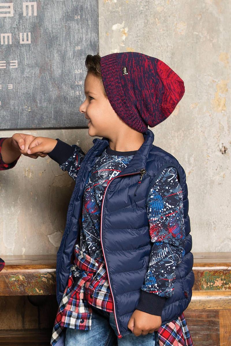 Шапка детская для мальчика Sweet Berry, цвет: красный, синий. 733021. Размер 54733021Вязаная шапка для мальчика от Sweet Berry выполнена из меланжевой пряжи с градиентом.