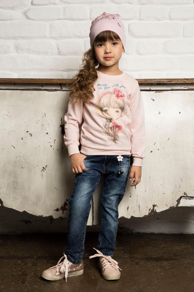 Шапка детская для девочки Sweet Berry, цвет: розовый. 734022. Размер 54734022Вязанная трикотажная шапочка для девочки розового цвета декорированная стразами.
