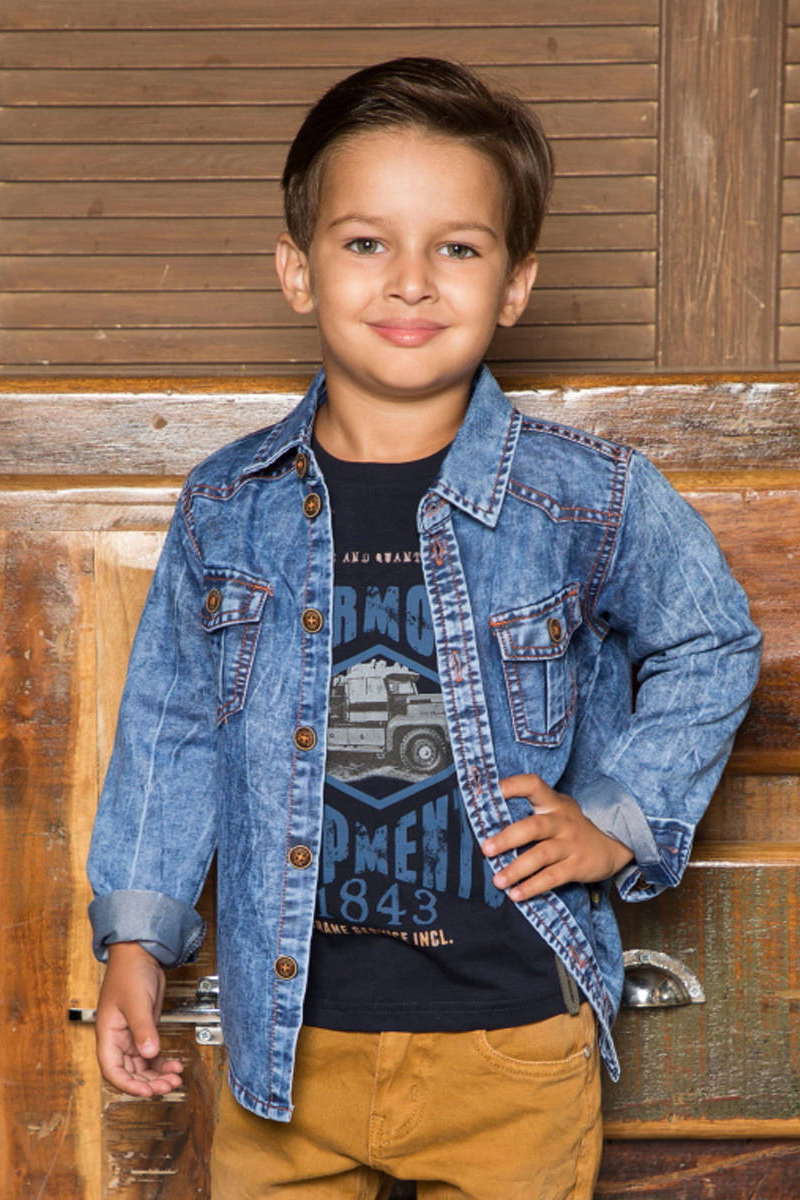 Футболка с длинным рукавом для мальчика Sweet Berry, цвет: темно-синий. 733082. Размер 122733082Трикотажная футболка с длинным рукавом из мягкой хлопковой ткани, декорированная оригинальным принтом. Округлый вырез горловины.