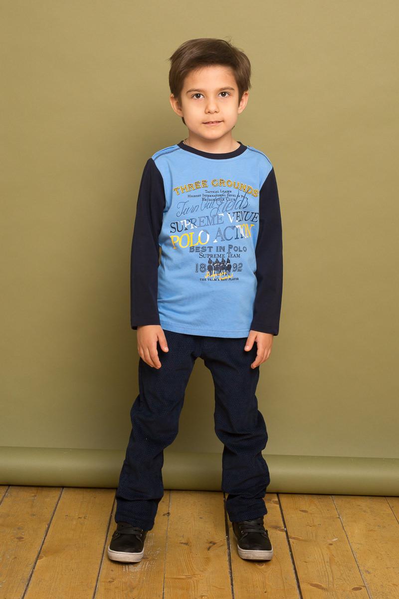 Футболка с длинным рукавом для мальчика Sweet Berry, цвет: синий. 733056. Размер 104733056Трикотажная футболка с длинным рукавом из комбинированной ткани, декорированная оригинальным принтом и контрастной отделкой горловины.