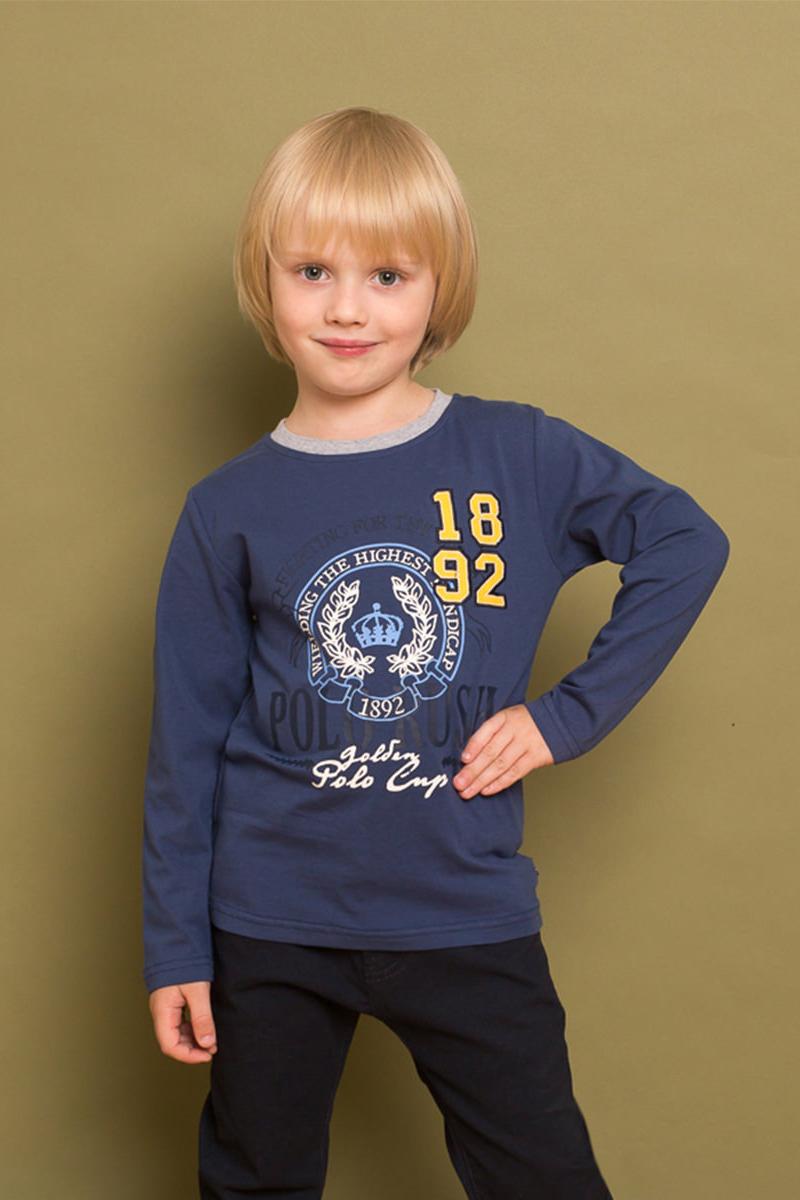 Футболка с длинным рукавом для мальчика Sweet Berry, цвет: синий. 733055. Размер 110733055Стильная трикотажная футболка с длинным рукавом от Sweet Berry выполнена из мягкой хлопковой ткани и декорирована оригинальным принтом и контрастной отделкой горловины.