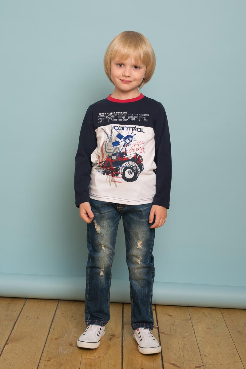 Футболка с длинным рукавом для мальчика Sweet Berry, цвет: синий. 733013. Размер 98733013Стильная трикотажная футболка с длинным рукавом из комбинированной ткани, декорированная оригинальным принтом и контрастной отделкой горловины изделия.