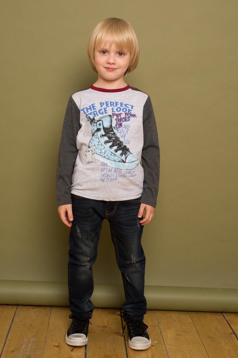 Футболка с длинным рукавом для мальчика Sweet Berry, цвет: серый металлик. 733034. Размер 116733034Модная трикотажная футболка с длинным рукавом от Sweet Berry выполнена из комбинированной ткани и декорирована оригинальным принтом и контрастной отделкой горловины изделия.