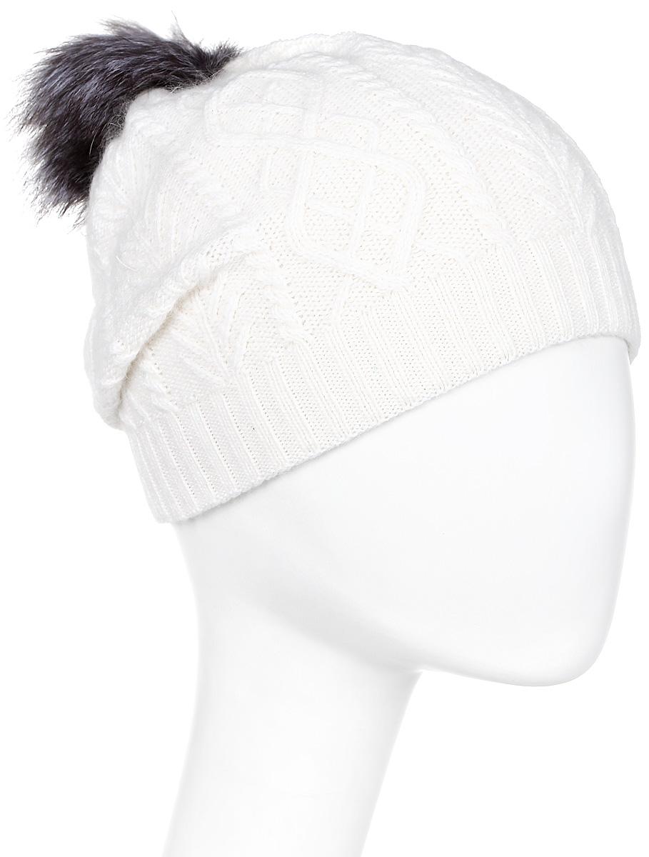 Шапка женская Marhatter, цвет: белый. Размер 56/58. MWH5630/3MWH5630/3Стильная шапка с помпоном из натурального меха, выполнена из ангоровой пряжи. Модель очень актуальна для тех, кто ценит комфорт, стиль и красоту.