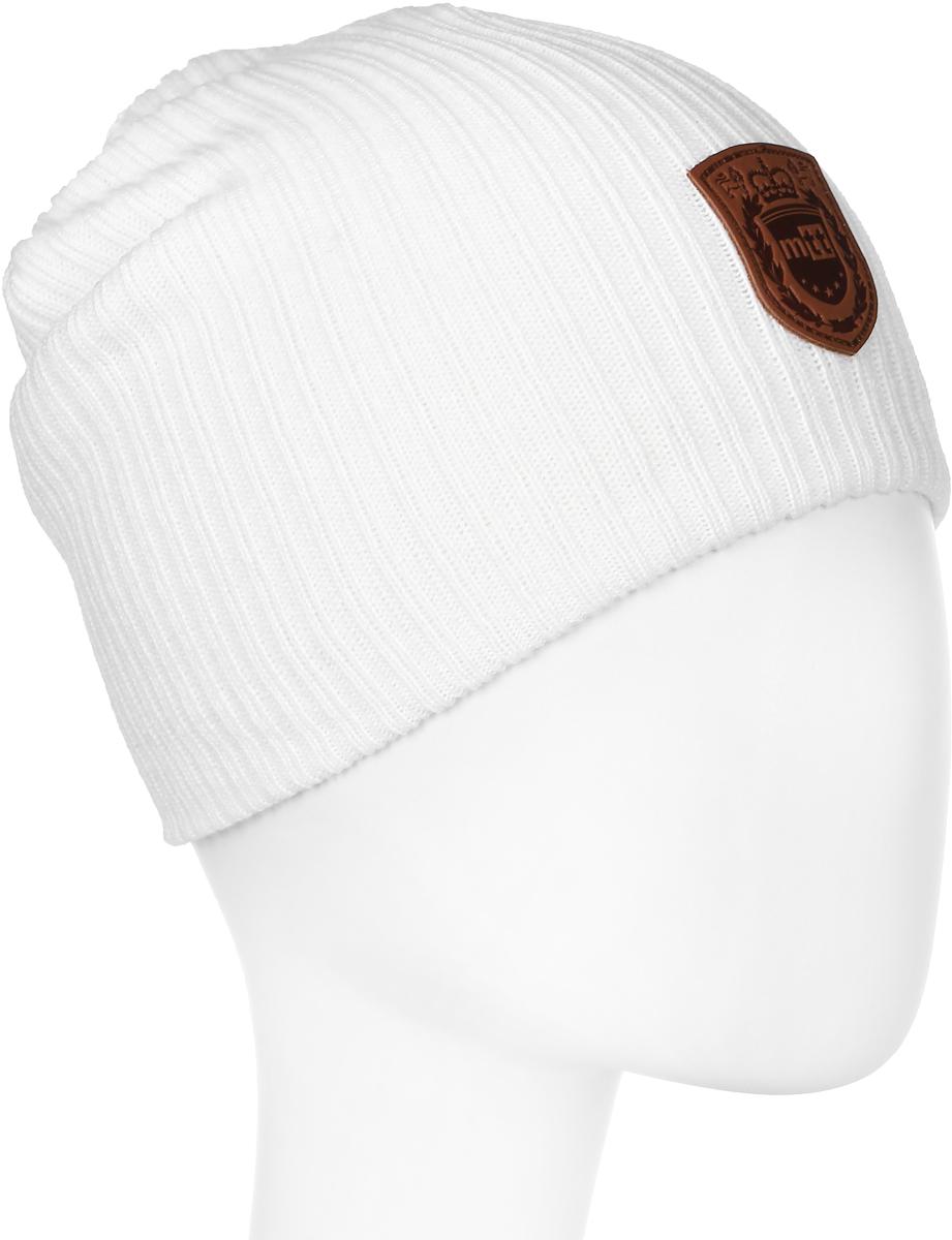Шапка мужская Marhatter, цвет: белый. Размер 56/58. 38053805Отличная теплая шапка-колпак, дополненная стильным кожаным шевроном. Будет хорошо смотреться не только со спортивной одеждой, но и с повседневной.