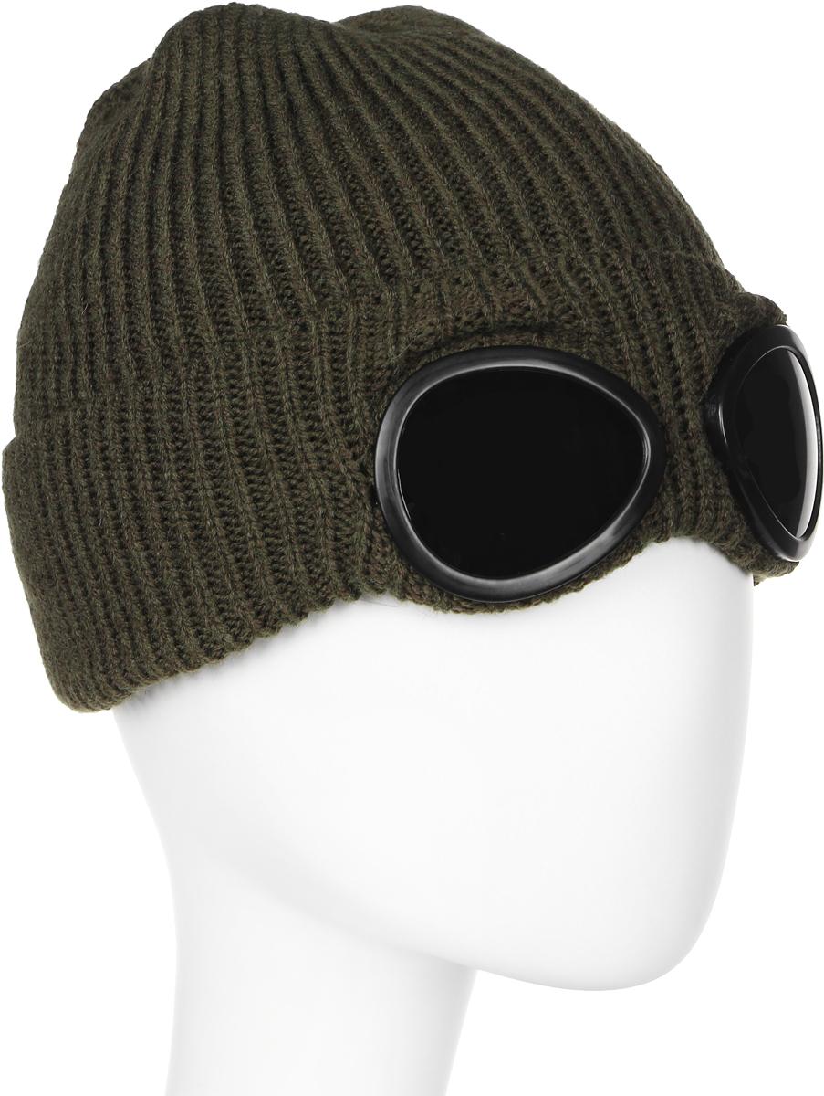 Шапка мужская Marhatter, цвет: темно-зеленый. Размер 57/59. MYH6138/2MYH6138/2Замечательная стильная шапка с очками, выполненная из теплого комфортного материала. Модель отлично подходит для молодых и активных. Придаст вашему образу оригинальность.