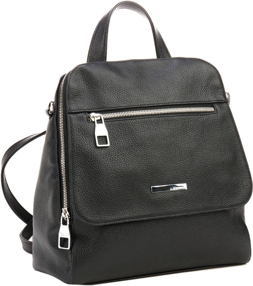 Сумка-рюкзак женская Alessandro Birutti, цвет: черный. 40484048Элегантная сумка- рюкзак Alessandro Birutti из натуральной кожи. Модель имеет одно отделение. На передней стенке- карман для мобильного телефона. На задней стенке- карман на молнии. Внутри: на передней стенке- карман в виде клапана на молнии, под которым есть еще один карман на молнии. Сумка-рюкзак закрывается на молнию. Благодаря перестегивающемуся ремню, изделие можно носить на одном плече как сумку, или за спиной как рюкзак.Сумка-рюкзак Alessandro Birutti замечательно дополнит ваш стиль и преподнесет вас в выгодной позиции и в офисе и в кино. Эта вещь станет замечательным подарком себе или родным. Размер: 31 х 27 х 12 см.