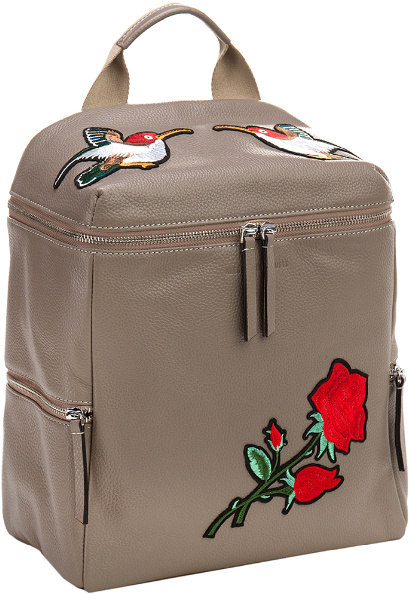 Сумка-рюкзак женская Alessandro Birutti, цвет: серый. 13-284А13-284АСумка Alessandro Birutti из мягкой и приятной на ощупь натуральной кожи.