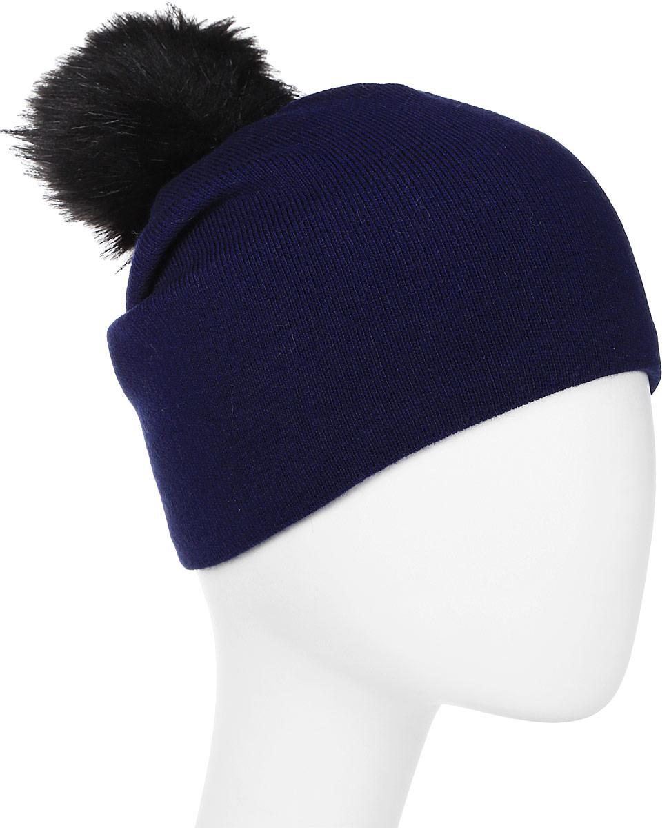 Шапка женская Elfrio, цвет: темно-синий. Размер 56/58. RWH5271/1RWH5271/1Замечательная шапка с помпоном, выполненная из теплого комфортного материала. Модель отлично подходит для молодых и активных. Незаменимая вещь на прохладную погоду. Придаст вашему образу оригинальность.