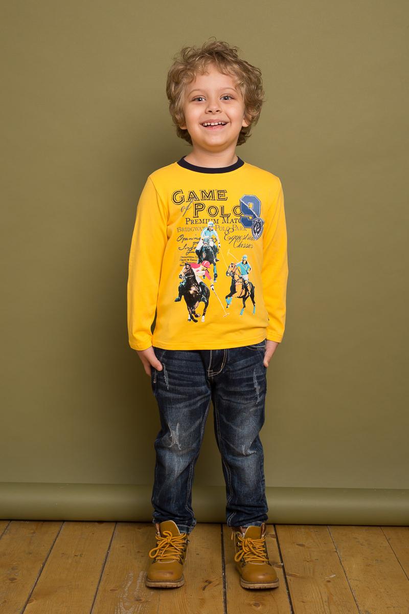 Футболка с длинным рукавом для мальчика Sweet Berry, цвет: желтый. 733054. Размер 122733054Стильная футболка от Sweet Berry выполнена из хлопковой ткани и декорирована ярким принтом. Модель с длинными рукавами с модными заплатками на локтях и круглым вырезом горловины.