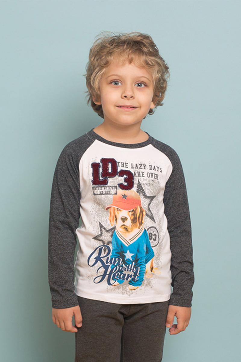 Футболка с длинным рукавом для мальчика Sweet Berry, цвет: белый, серый. 733033. Размер 122733033Трикотажная футболка с длинным рукавом-реглан от Sweet Berry декорирована оригинальном принтом и контрастной отделкой горловины изделия и рукавов.