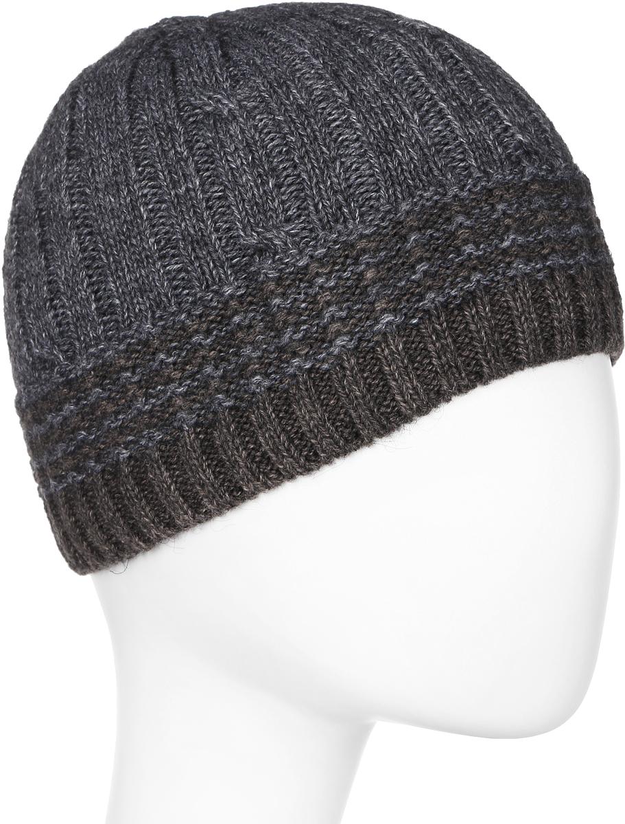 Шапка мужская Marhatter, цвет: бежевый, темно-серый. Размер 57/59. MMH6852/2MMH6852/2Универсальная шапка, отлично подходит под любой стиль одежды. Сдержанный строгий дизайн, деликатная отделка и классические цвета.