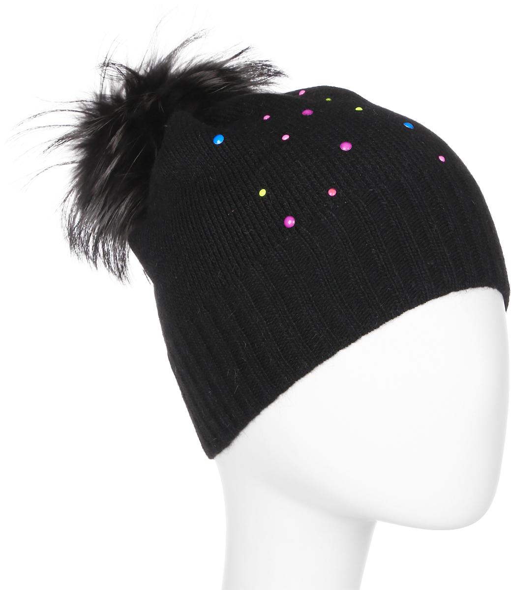 Шапка женская Marhatter, цвет: черный. Размер 56/58. MWH5996MWH5996Стильная шапка с помпоном из натурального меха, выполнена из ангоровой пряжи. Модель очень актуальна для тех, кто ценит комфорт, стиль и красоту.