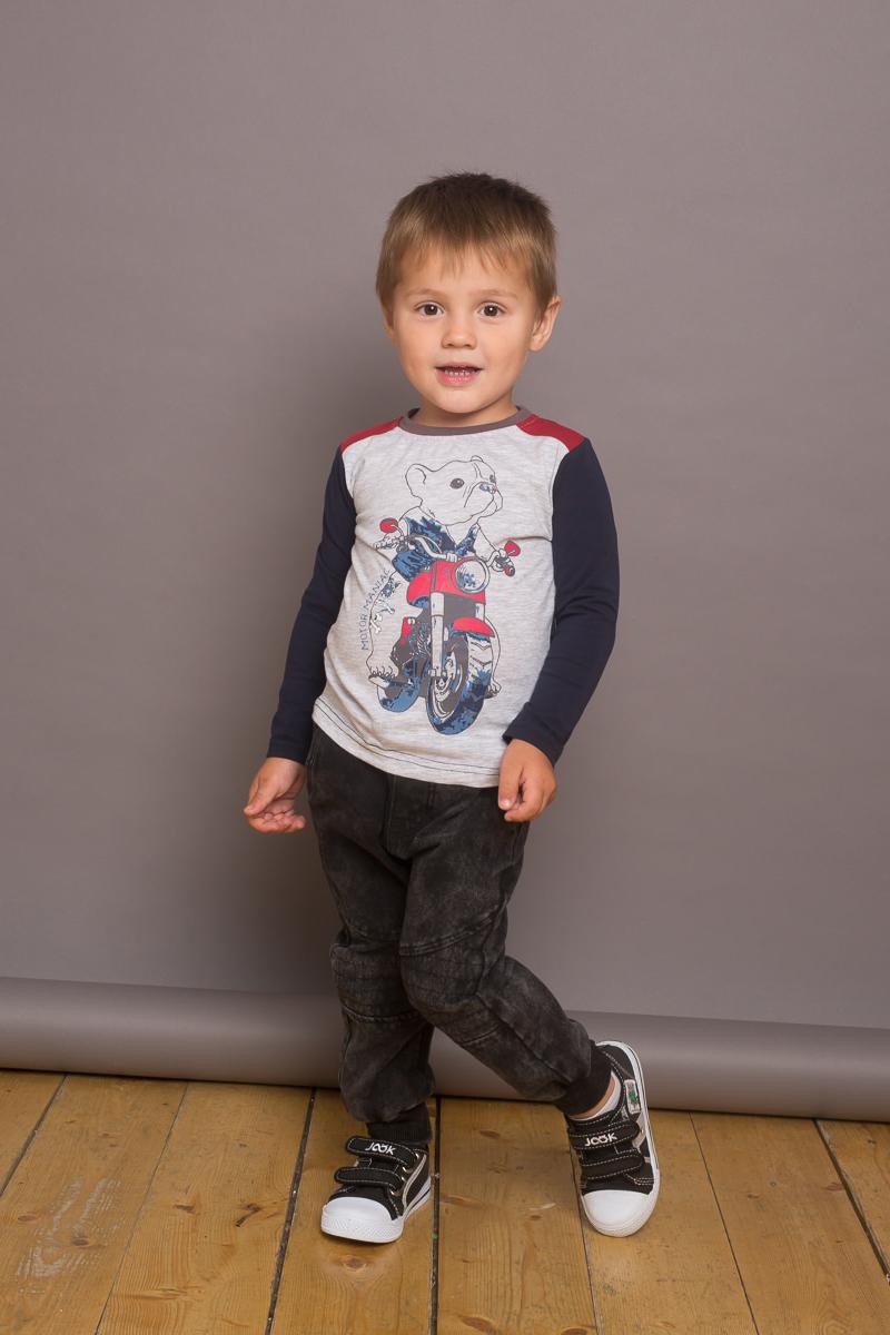 Фото Футболка с длинным рукавом для мальчика Sweet Berry Baby, цвет: темно-синий, светло-серый. 731060. Размер 80