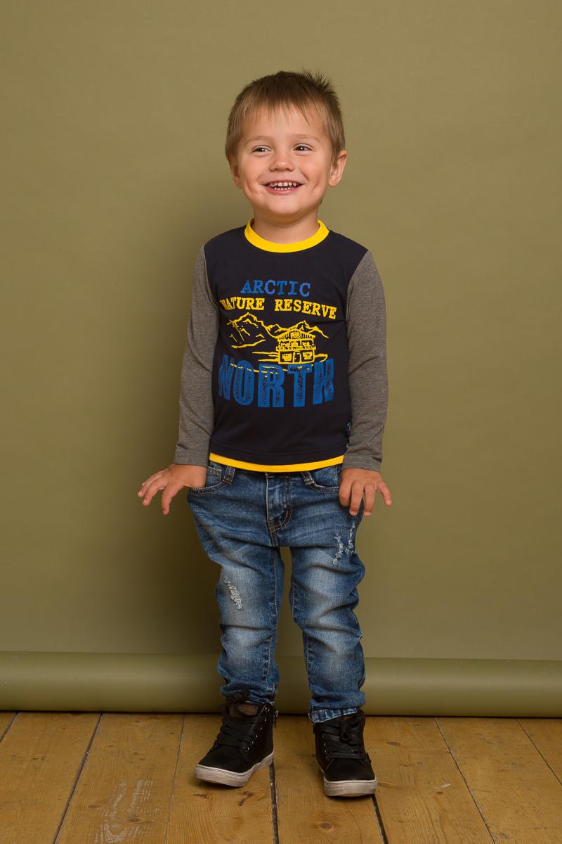 Фото Футболка с длинным рукавом для мальчика Sweet Berry Baby, цвет: темно-синий, серый. 731040. Размер 80