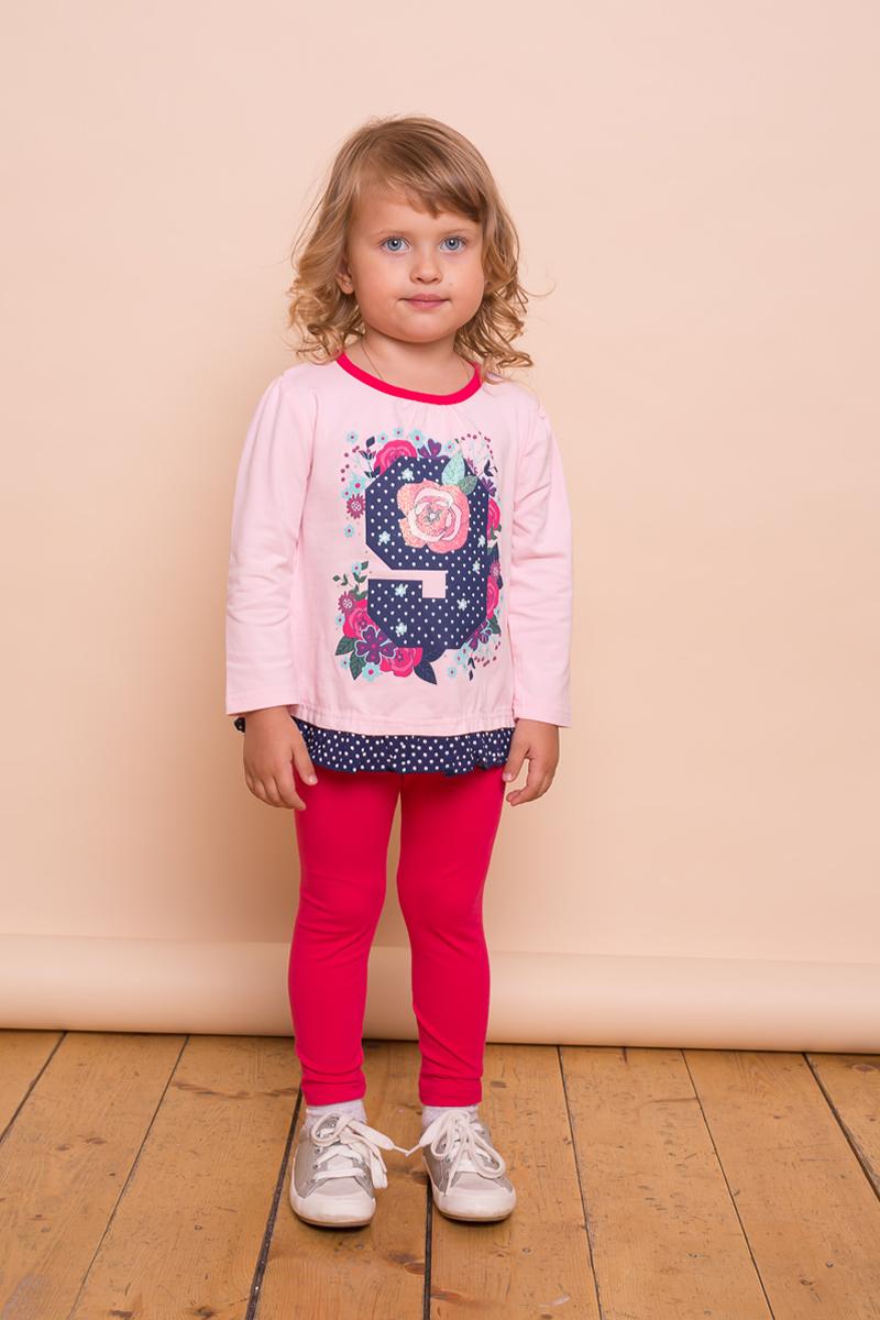 Футболка с длинным рукавом для девочки Sweet Berry Baby, цвет: розовый. 732009. Размер 80732009Трикотажная футболка Sweet Berry Baby с длинный рукавом выполнена из эластичного хлопка. Модель с круглым вырезом горловины декорирована ярким принтом и контрастной оборкой по низу изделия.